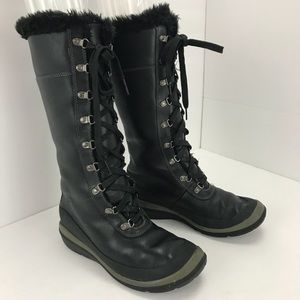 Timberland winter tall black leather  boots 6.5